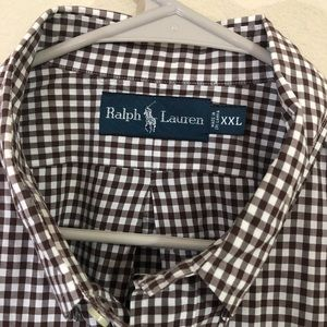 Ralph Lauren polo XXL men's stripe shirt brown